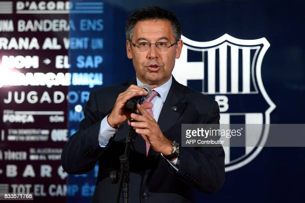 Barcelona's president Josep Maria Bartomeu speaks during the official presentation of Barcelona's new Brazilian football player Paulinho Bezerra...