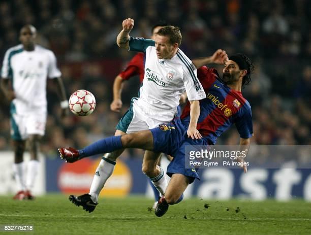 Barcelona's Rafael Marquez challenges Liverpool's Craig Bellamy
