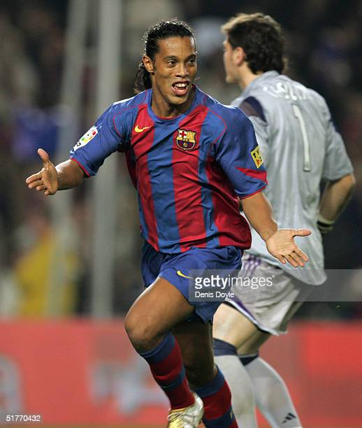 Barcelona's Ronaldinho reacts after scoring a goal against Real Madrid during their la Liga match at Nou Camp on November 20 2004 in Barcelona Spain