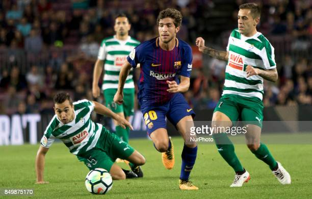 Barcelona's Sergi Roberto during the spanish league match between FC Barcelona and Eibar at Camp Nou Stadium in Barcelona Spain on September 19 2017