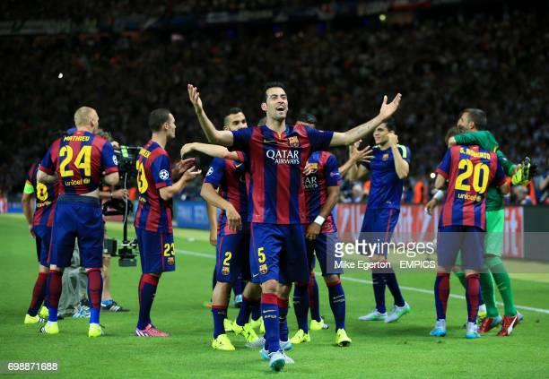 Barcelona's Sergio Busquets celebrates