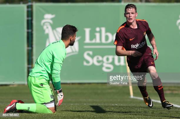 Barcelona's Sergio Gomez celebrates after scoring a goal during the UEFA Youth League match between Sporting CP and FC Barcelona at CGD Stadium...