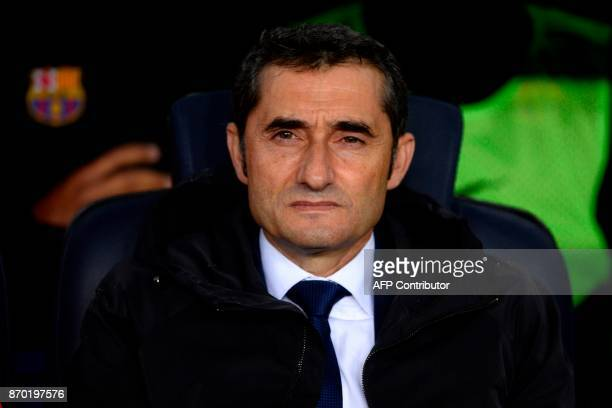 Barcelona's Spanish coach Ernesto Valverde attends the Spanish league football match FC Barcelona vs Sevilla FC at the Camp Nou stadium in Barcelona...