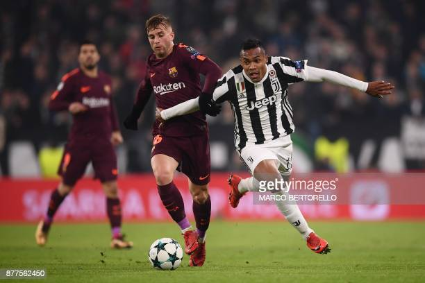 Barcelona's Spanish forward Gerard Deulofeu vies with Juventus' defender from Brazil Alex Sandro during the UEFA Champions League Group D football...