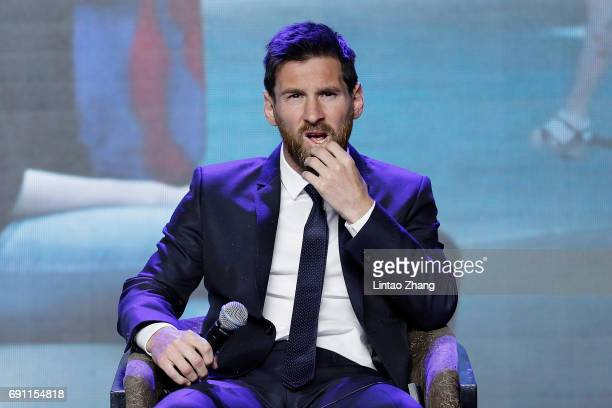 Barcelona's striker Lionel Messi looks on during a news conference at China World Trade Center Grand Hotel on June 1 2017 in Beijing China Messi...