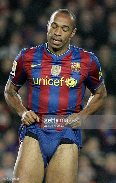 Barcelona's Thierry Henry reacts during a Spanish League football match against Valencia at the Camp Nou Stadium in Barcelona on March 14 2010 AFP...