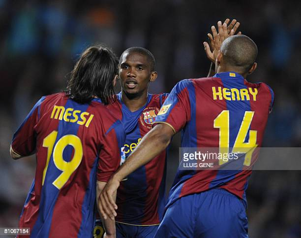 FC Barcelona's Thierry Henry Samuel Eto'o and Leo Messi celebrate the first goal during their Spanish League football match against Mallorca on May...