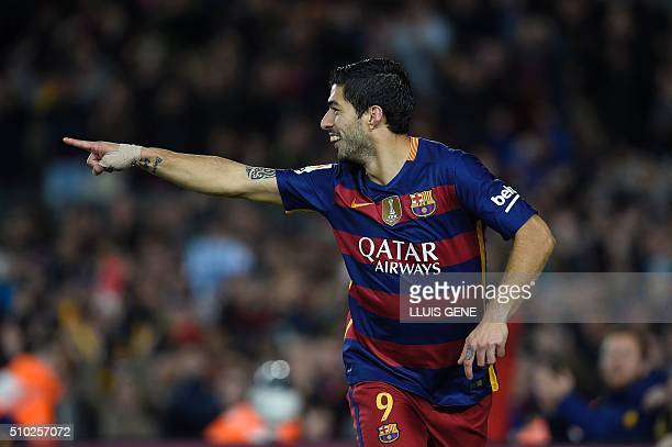 Barcelona's Uruguayan forward Luis Suarez celebrates a goal during the Spanish league football match FC Barcelona vs RC Celta de Vigo at the Camp Nou...