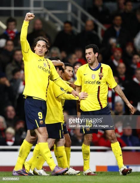 Barcelona's Zlatan Ibrahimovic celebrates scoring his second goal