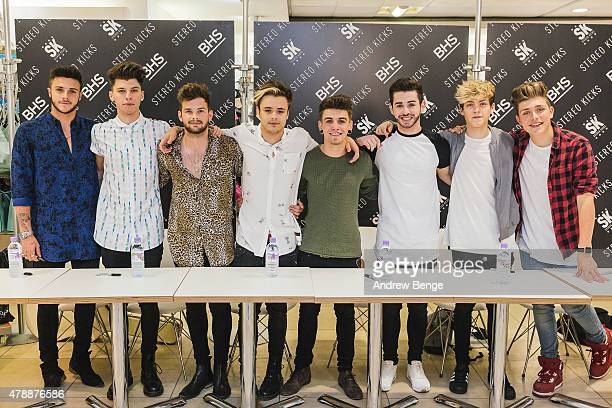 Barclay Beales James Graham Tom Mann Casey Johnson Jake Sims Chris Leonard Reece Bibby and Charlie Jones of Stereo Kicks attend the launch of their...