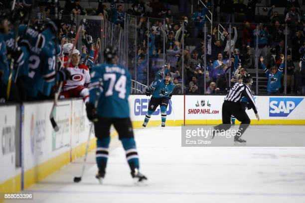 Barclay Goodrow of the San Jose Sharks celebrates after he scored a shorthanded goal against the Carolina Hurricanes in the third period at SAP...