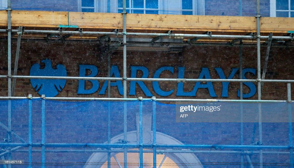 A Barclays bank branch covered in scaffolding is pictured in central London, on February 11, 2013. The bank's 2013 results statement is due to be announced on Tuesday February 12, 2013.