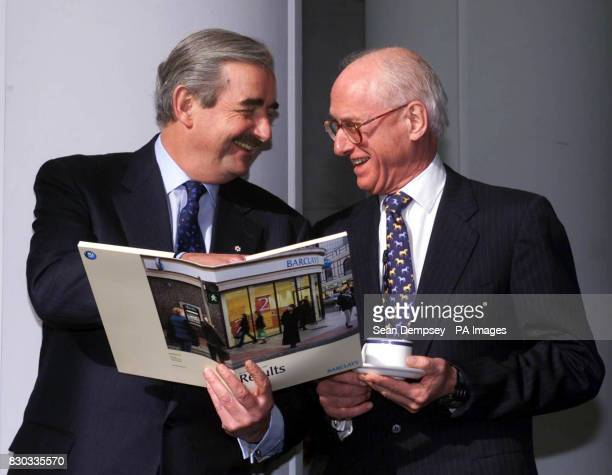 Barclays bank Chief Executive Matthew Barrett and Barclays Chairman Sir Peter Middleton announcing the banks annual results in London