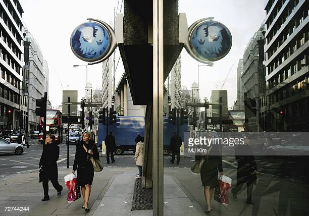 Barclays Bank sign is seen in the City of London on December 6 2006 in London England