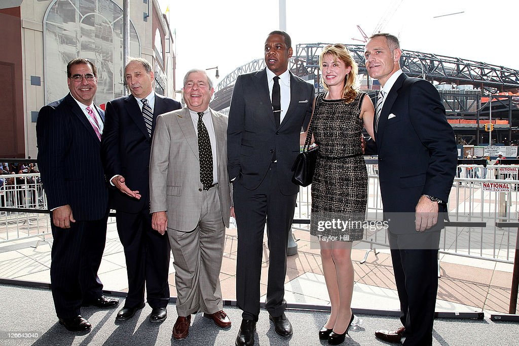 Barclay's Capital Incorporated CEO Gerard Larocca, Forest City Ratner CEO Bruce Ratner, Brooklyn Borough President Marty Markowitz, Brooklyn Nets co-owner Shawn Carter, Onexim Sports and Entertainment Holding President Irina Pavlova, and Barclays Center CEO Brett Yormark attend the Barclays Center press conference at Atlantic Terminal on September 26, 2011 in the Brooklyn borough of New York City.