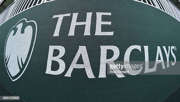 Barclays logo is seen on bunting under a hospitality tent during the first round of The Barclays at Plainfield Country Club on August 27 2015 in...