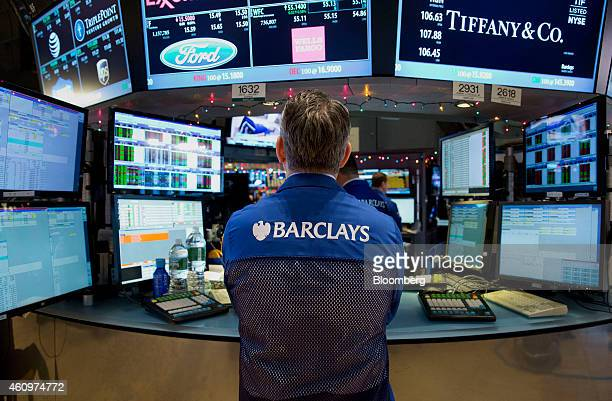 A Barclays Plc trader works on the floor of the New York Stock Exchange in New York US on Friday Jan 2 2015 US stockindex futures climbed indicating...