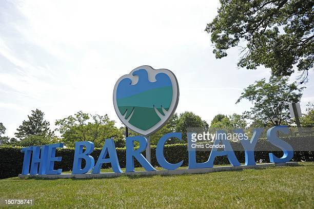 Barclays sign welcomes fans to the golf course during the third round of The Barclays at Bethpage Black Course on August 25 2012 in Farmingdale New...