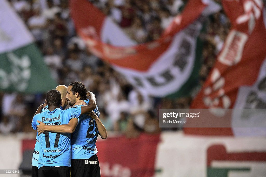 Barcos of Gremio celebrates a scored goal during a match between Fluminense and Gremio as part of the Copa Libertadores 2013 at Joao Havelange...