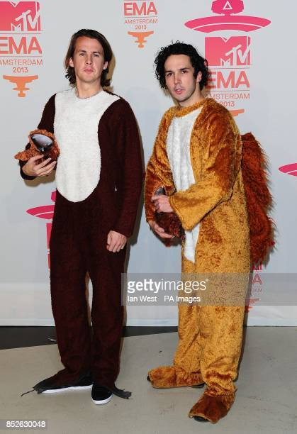 Bard Ylvisaker and Vegard Ylvisaker of Ylvis in the Press Room at the 2013 MTV Europe Music Awards at the Ziggo Dome Amsterdam Netherlands