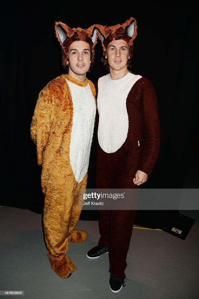 Bard Ylvisaker and Vegard Ylvisaker of Ylvis pose backstage during the MTV EMA's 2013 at the Ziggo Dome on November 10, 2013 in Amsterdam, Netherlands.