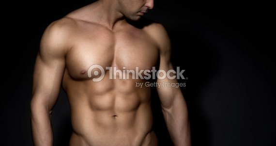 chested hombre desnudo muscular : Foto de stock