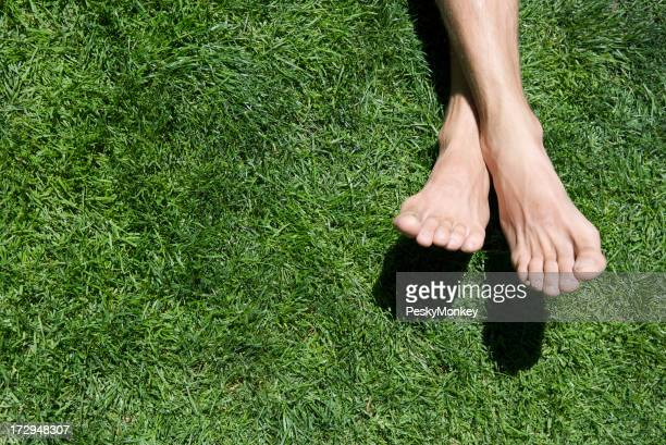 Bare Feet Green Grass Summer Relaxing