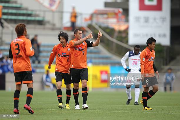 Bare whose real name is Jader Volnei Spindler of Shimizu SPulse celebrates after scoring his team's first goal during the JLeague match between...