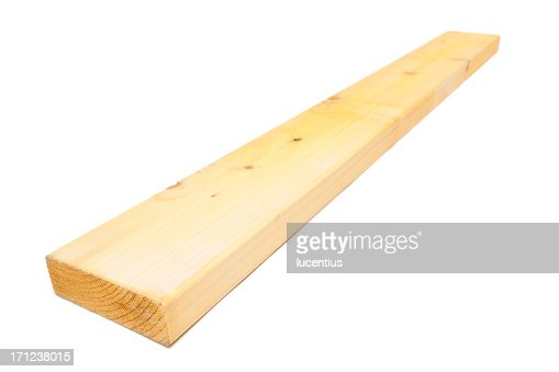 Bare wooden plank against white background