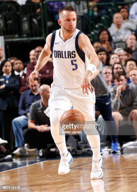 J Barea of the Dallas Mavericks dribbles the ball down court against the Brooklyn Nets on November 29 2017 at the American Airlines Center in Dallas...