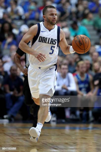 J Barea of the Dallas Mavericks dribbles the ball down the court against the Sacramento Kings in the second half at American Airlines Center on...