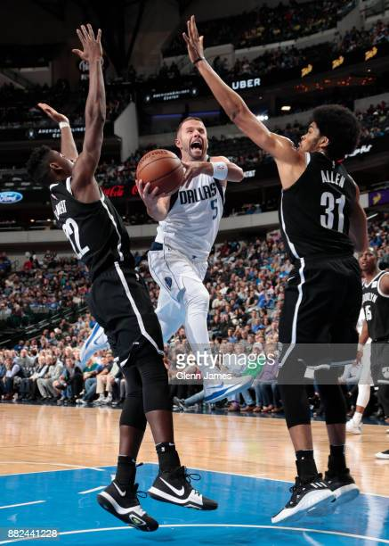 J Barea of the Dallas Mavericks drives to the basket against the Brooklyn Nets on November 29 2017 at the American Airlines Center in Dallas Texas...