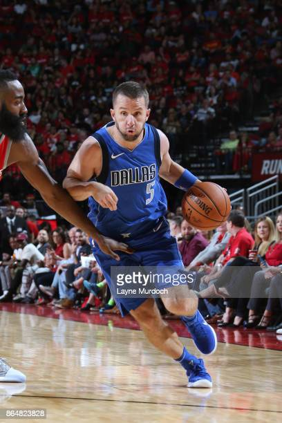 J Barea of the Dallas Mavericks drives to the basket against the Houston Rockets on October 21 2017 at the Toyota Center in Houston Texas NOTE TO...