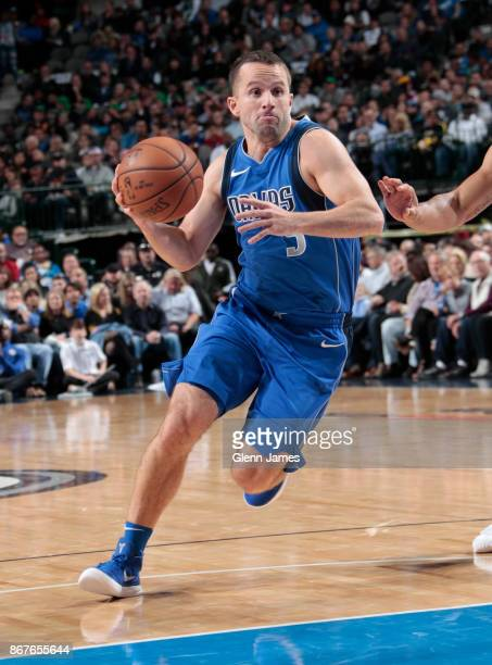 J Barea of the Dallas Mavericks handles the ball against the Philadelphia 76ers on October 28 2017 at the American Airlines Center in Dallas Texas...