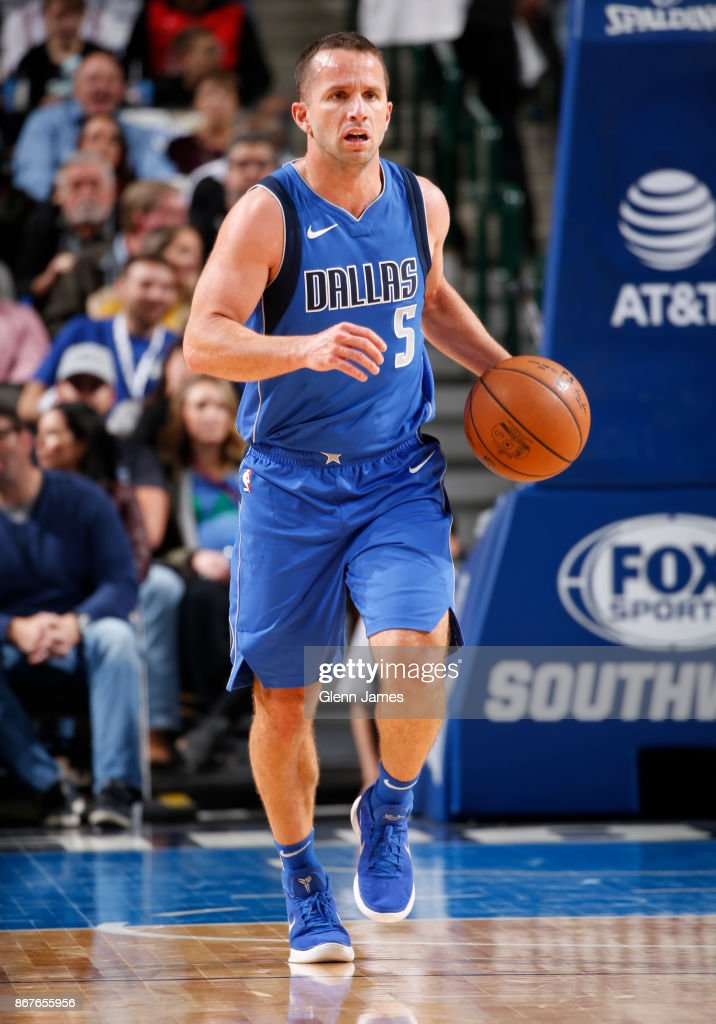 J.J. Barea #5 of the Dallas Mavericks handles the ball against the Philadelphia 76ers on October 28, 2017 at the American Airlines Center in Dallas, Texas.