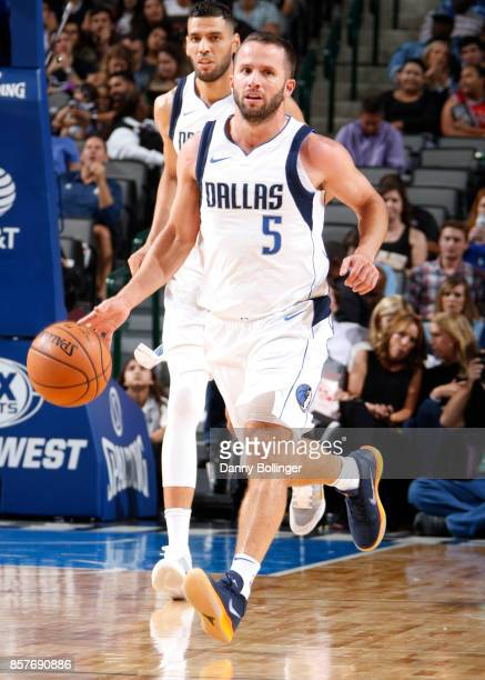 J Barea of the Dallas Mavericks handles the ball against the Chicago Bulls during the preseason game on October 4 2017 at the American Airlines...