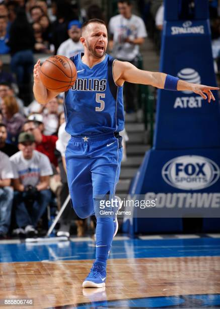 J Barea of the Dallas Mavericks handles the ball against the Denver Nuggets on December 4 2017 at the American Airlines Center in Dallas Texas NOTE...