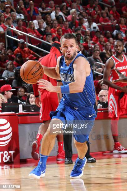 J Barea of the Dallas Mavericks handles the ball against the Houston Rockets on October 21 2017 at the Toyota Center in Houston Texas NOTE TO USER...