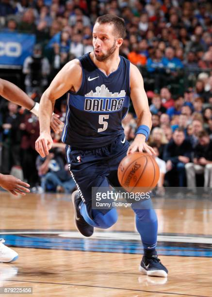 J Barea of the Dallas Mavericks handles the ball against the Oklahoma City Thunder on November 25 2017 at the American Airlines Center in Dallas...