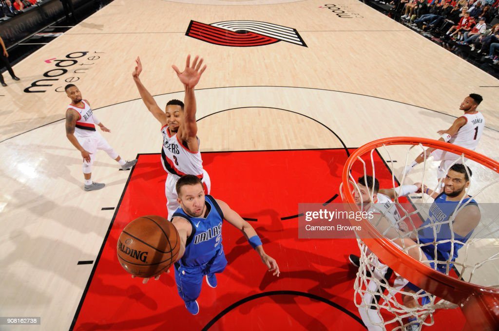 J.J. Barea #5 of the Dallas Mavericks handles the ball against the Portland Trail Blazers on January 20, 2018 at the Moda Center in Portland, Oregon.