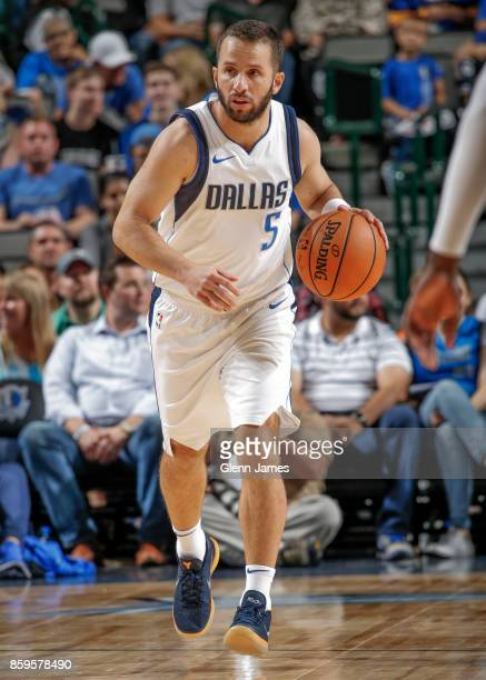 J Barea of the Dallas Mavericks handles the ball during a preseason game against the Orlando Magic on October 9 2017 at the American Airlines Center...
