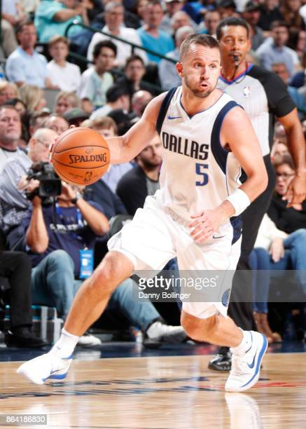 J Barea of the Dallas Mavericks handles the ball during the game against the Sacramento Kings on October 20 2017 at the American Airlines Center in...