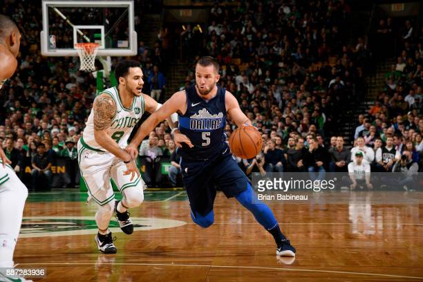 J Barea of the Dallas Mavericks handles the ball during the game against the Boston Celtics on December 6 2017 at the TD Garden in Boston...