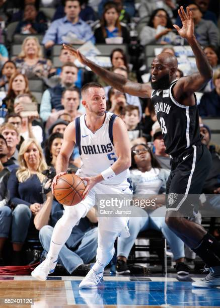 J Barea of the Dallas Mavericks looks to pass the ball against the Brooklyn Nets on November 29 2017 at the American Airlines Center in Dallas Texas...