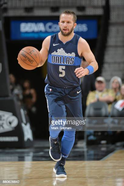 J Barea of the Dallas Mavericks moves the ball down court against the San Antonio Spurs on November 27 2017 at the ATT Center in San Antonio Texas...