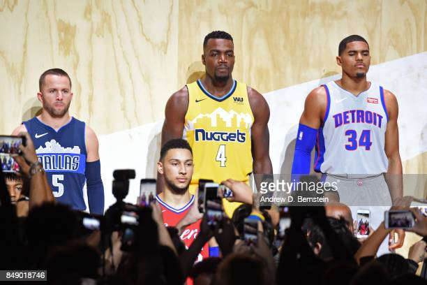 J Barea of the Dallas Mavericks Paul Millsap of the Denver Nuggets and Tobias Harris of the Detroit Pistons help unveil new uniforms during the Nike...