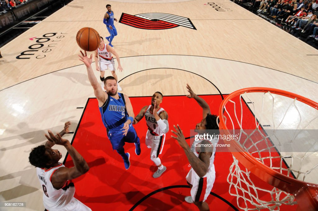 J.J. Barea #5 of the Dallas Mavericks shoots the ball against the Portland Trail Blazers on January 20, 2018 at the Moda Center in Portland, Oregon.