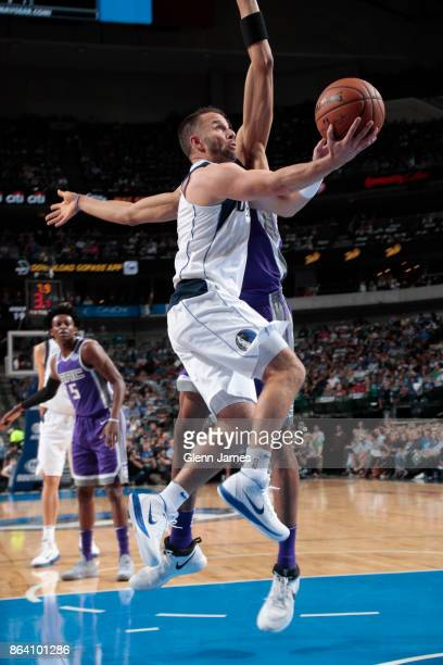 J Barea of the Dallas Mavericks shoots the ball during the game against the Sacramento Kings on October 20 2017 at the American Airlines Center in...