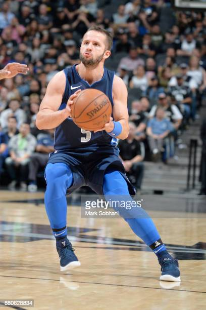 J Barea of the Dallas Mavericks takes a threepointer against the San Antonio Spurs on November 27 2017 at the ATT Center in San Antonio Texas NOTE TO...