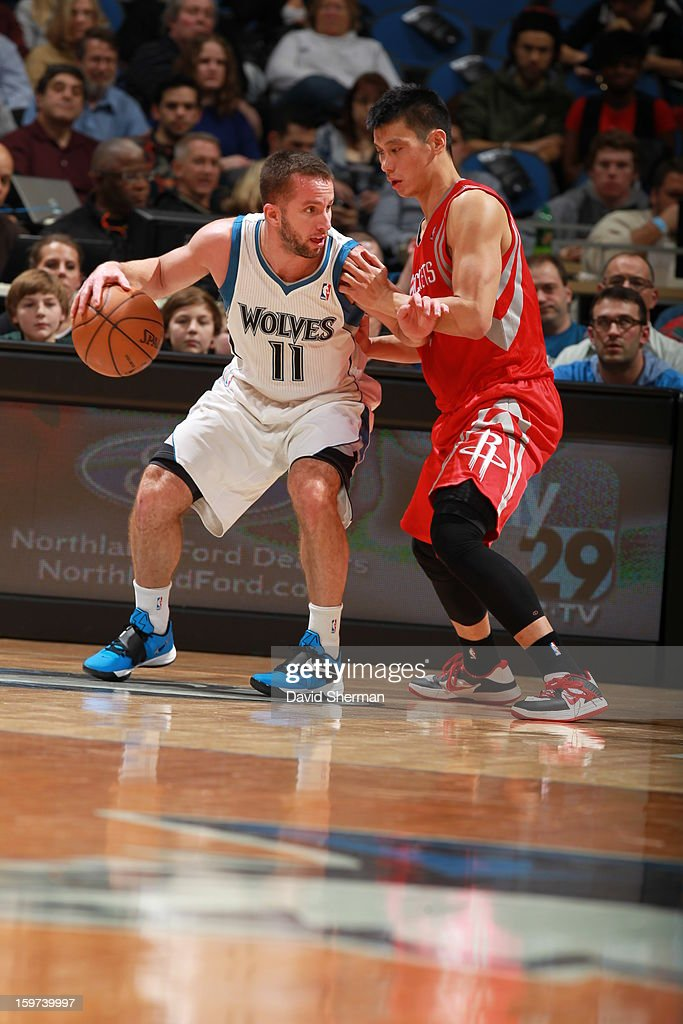 J.J. Barea #11 of the Minnesota Timberwolves attempts to go up against Jeremy Lin #7 of the Houston Rockets during the game on January 19, 2013 at Target Center in Minneapolis, Minnesota.